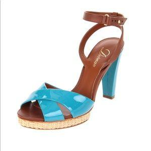 Delman Dani Turquoise Patent Leather Ankle Sandals